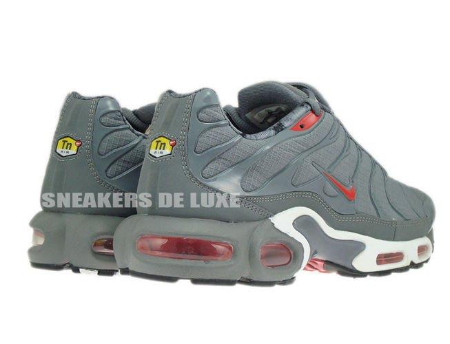 English: 604133-080 Nike Air Max Plus TN 1 Cool Grey/Challenge Red-Black 604133-080 Nike Air Max Plus TN Tuned